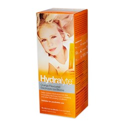Hydralyte Electrolyte Ice Blocks Orange 62.5ml