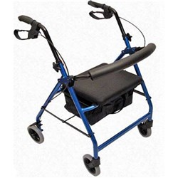 Wheelie Walker with Handbrake & Seat Basket Blue Colour
