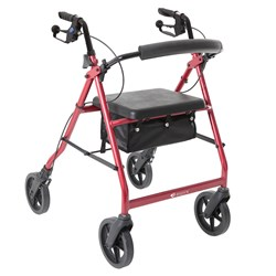 Wheelie Walker with Handbrake & Seat Basket Red Colour